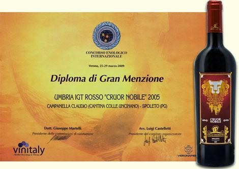 Diploma di Gran Menzione al Concorso Enologico Internazionale